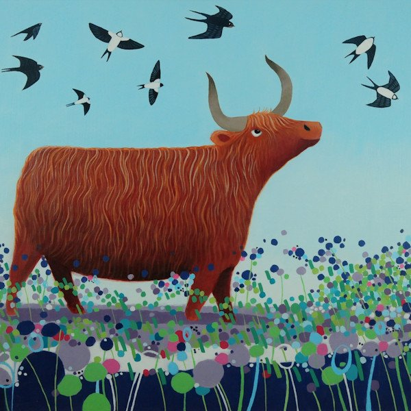 a painting of a highland cow being swooped on by swallows by ailsa black
