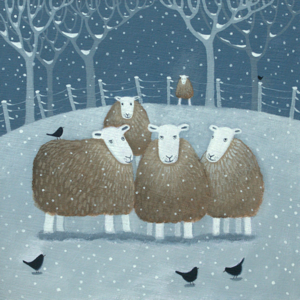 A flock of Herdwick Sheep huddle in the snow in this winter snow scene painting by Ailsa Black