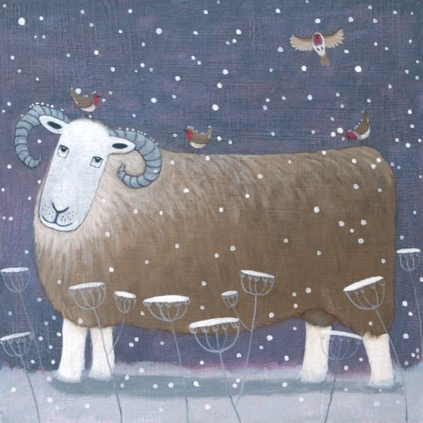 Robins come to land on the back of a Herdwick sheep painting by Ailsa Black.