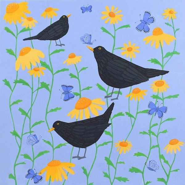 Blackbirds and yellow diasies on a blue background an original painting