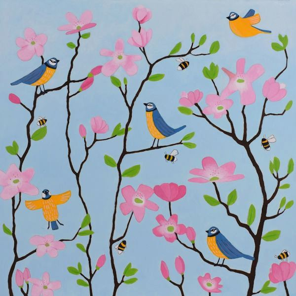 A painting of bluetits and pink blossom  on a blue background