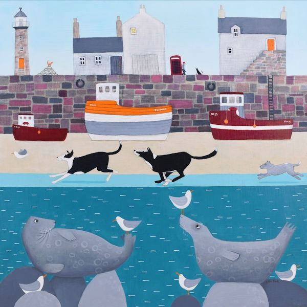 Dogs chase a bird along the beach in front of a harbour in this fun and colourful painting.