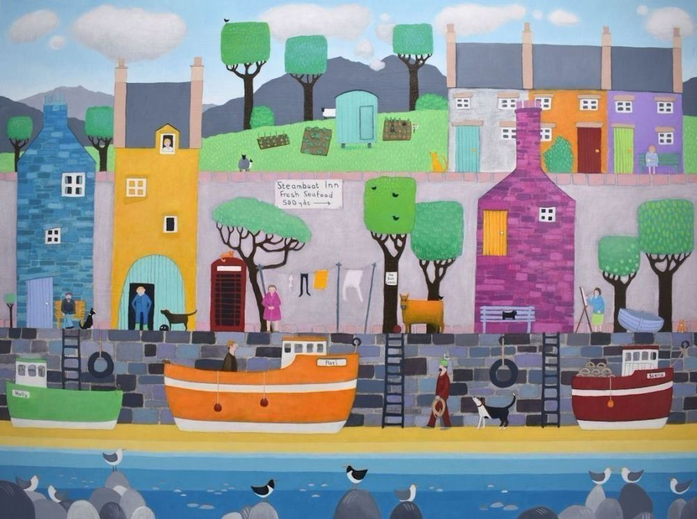 colourful painting of scottish harbour village scene