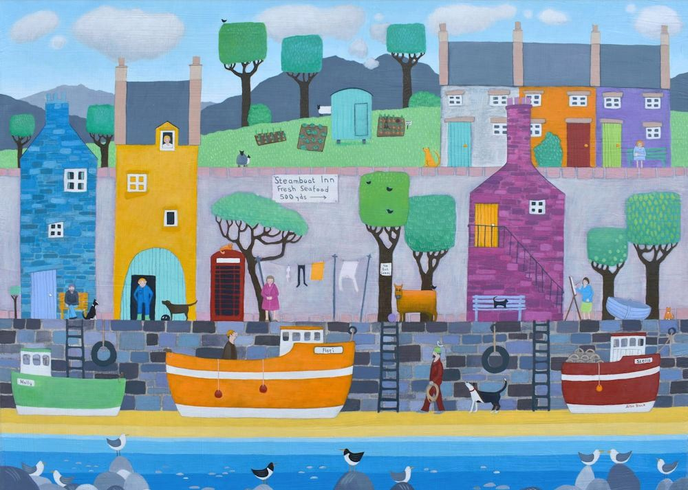 Acolourful harbour scene which was turned into a jigsaw by Ravenburger painted by Scottish artist Ailsa Black