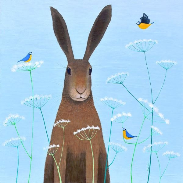a fun painting of a hare and blue tits.