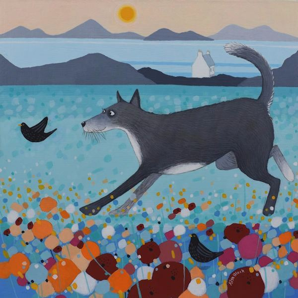 a painting of a huskie dog running through the fields by ailsa black