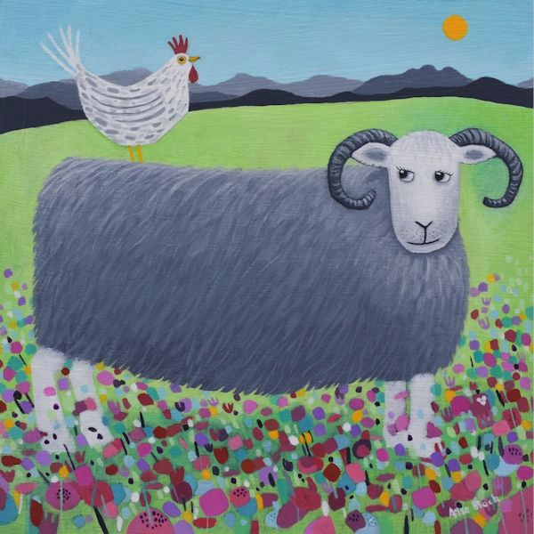 a painting of a herdwick sheep and a cockerel by ailsa black