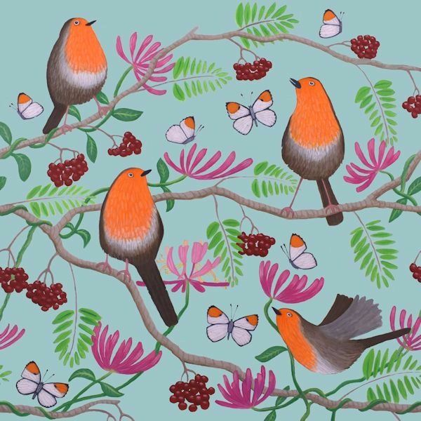 A group of robins rest  on a rowan berry tree