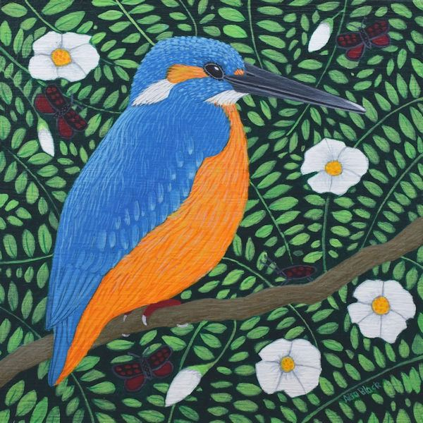 A acrylic painting of kingfisher with six spot burnets.