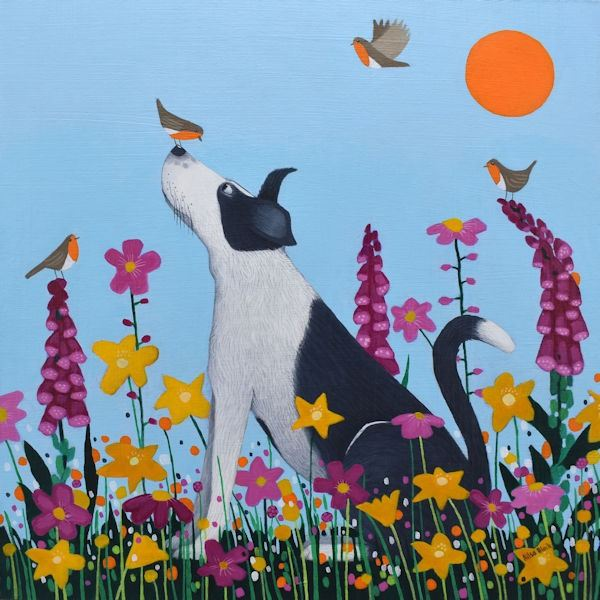 a painting of a collie dog sitting a field of flowers by scottish artist ailsa black