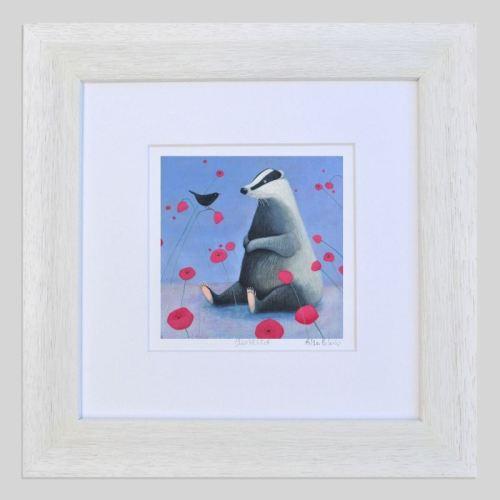badger on blue framed for web