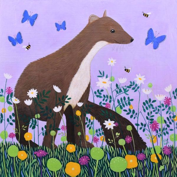 Pine Marten Pinks painting