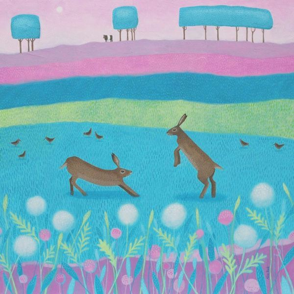 a painting of two hares playing by ailsa black