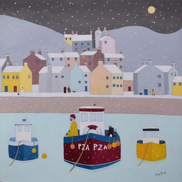 A pinting of snow fall on Staithes on the Yorkshire coast.