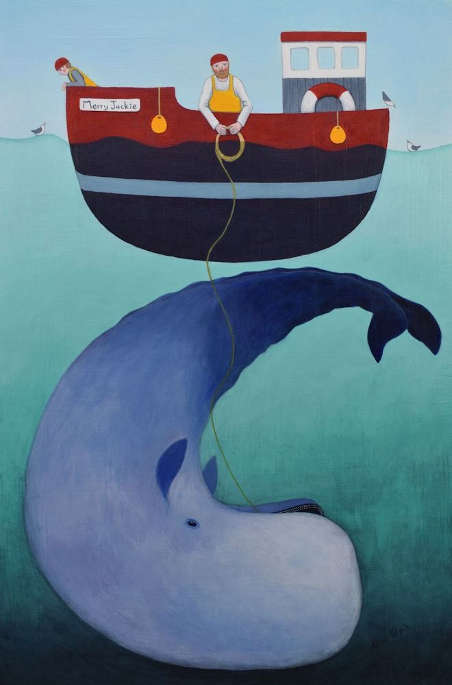 A painting of a fishing boat and a whale.