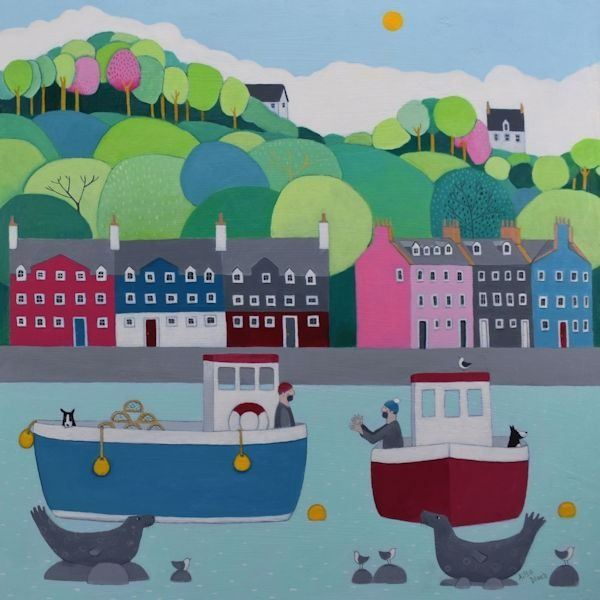 A colourful painting of Tobermory village on Mull with two fishermen discussing the days catch.