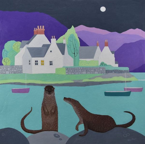 A colourful painting of the village of Plockton from Scotland.
