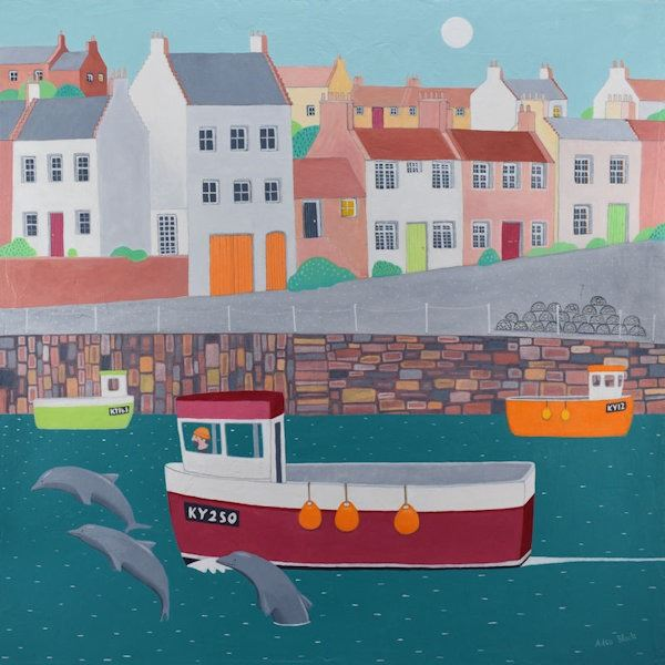 A painting of the village of Crail in Fife with dolphins chasing a fishing boat out of the harbour.