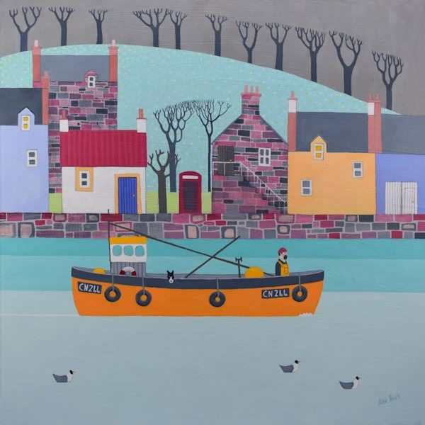 A painting of a herring boat manned by a fisherman and his collie dog heading out to sea past a row of colourful Scottish cottages.