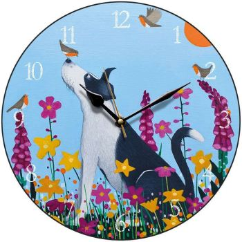 """Bestie to the Birdie"" round collie dog clock"