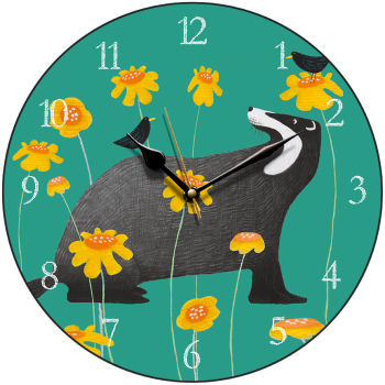 """Badger Serenade"" on green clock"