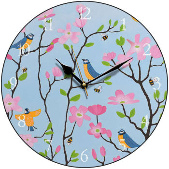 """Bluetits and Blossoms"" Colourful Blue Tit  Clock"
