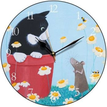 """Daisy Games"" cat and mouse clock"