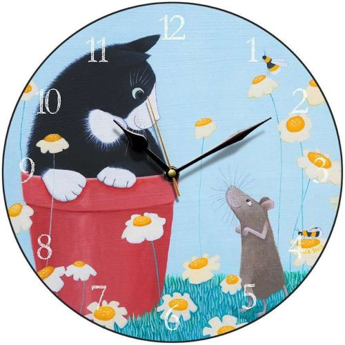 Cat and Mouse Round Clock