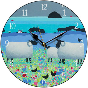 """Fleecies in Flowers"" Colourful Black Faced Sheep Clock"