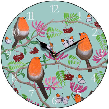 """Orange Delights"" robin print clock"