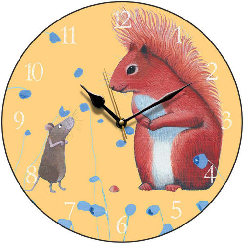 Red Squirrel Round Clock