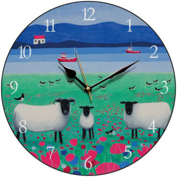 """Woollit Wanderers"" Black faced sheep round clock"