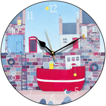 """Planning the day ahead"" coastal art clock"