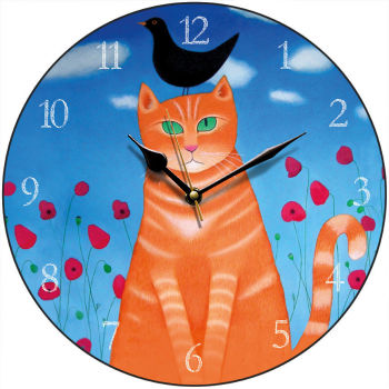 """Burd? Whit Burd?"" Orange Tabby Cat Clock"