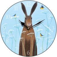 """Feathered Friends"" hare and blue tits clock"