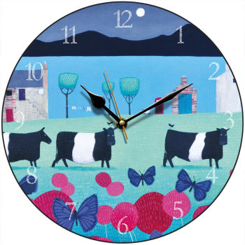 """Flutterbies and Belties"" Belted Galloway and butterflies clock"
