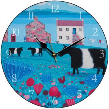 """Mooching an' Mooing"" Belted Galloway clock"