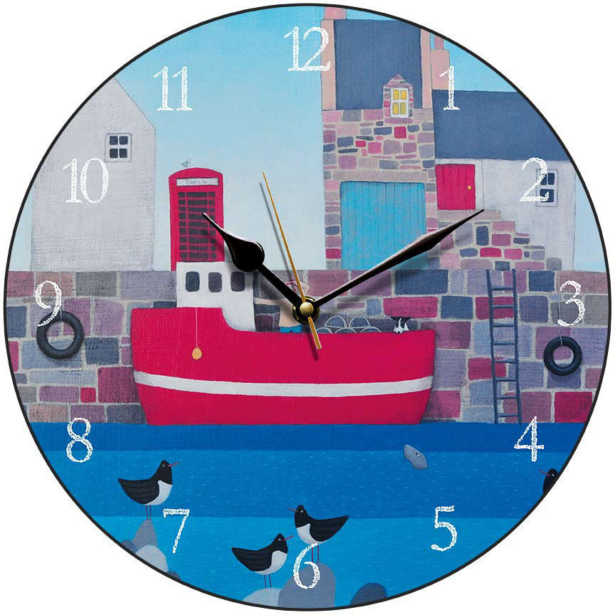 Coastal Village Round Clock