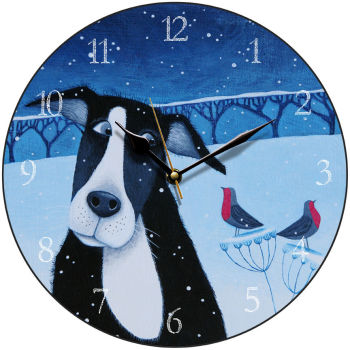 """Hoo many Snowflakes?"" art clock with collie dog"