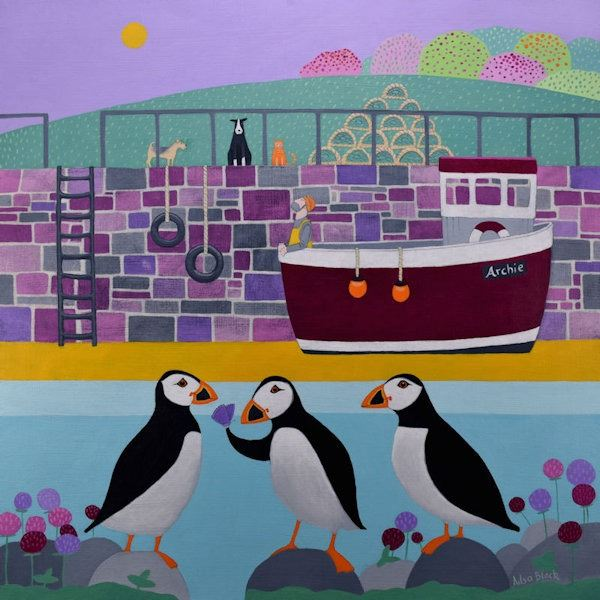 A colourful painting of puffins in a harbour.