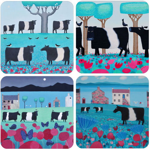 A Belted Galloway Mixed Coaster Set of 4