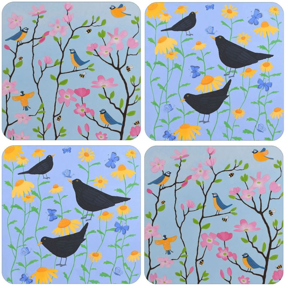 A Birds Mixed Coaster Set of 4
