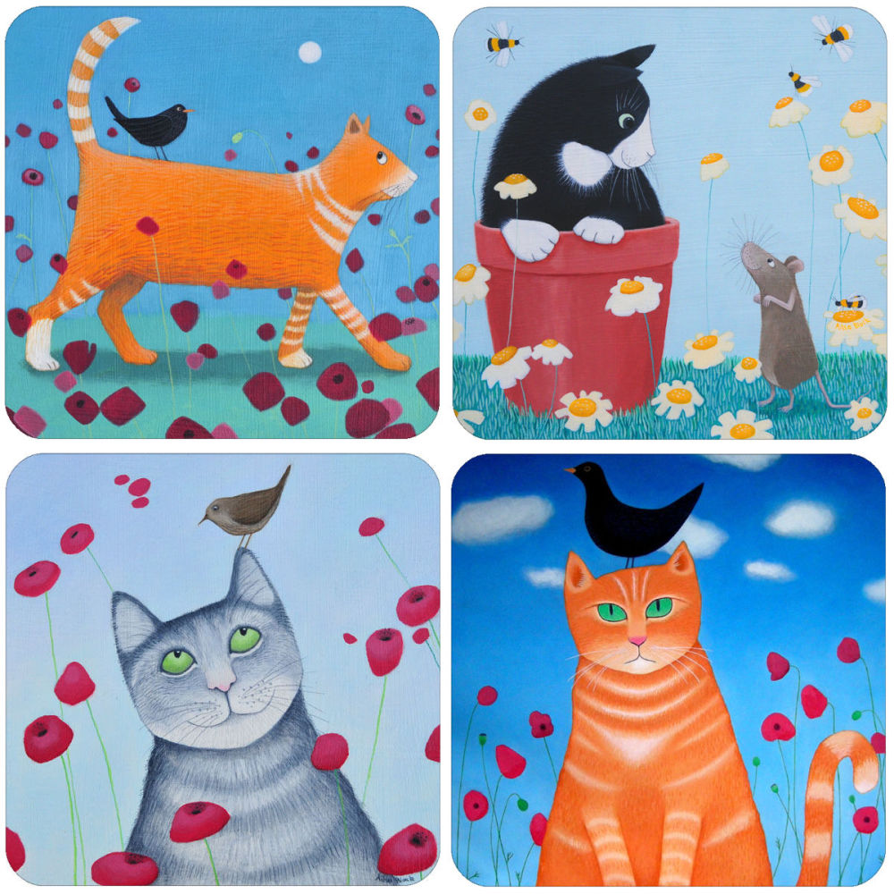 A Cats Mixed Coaster Set of 4