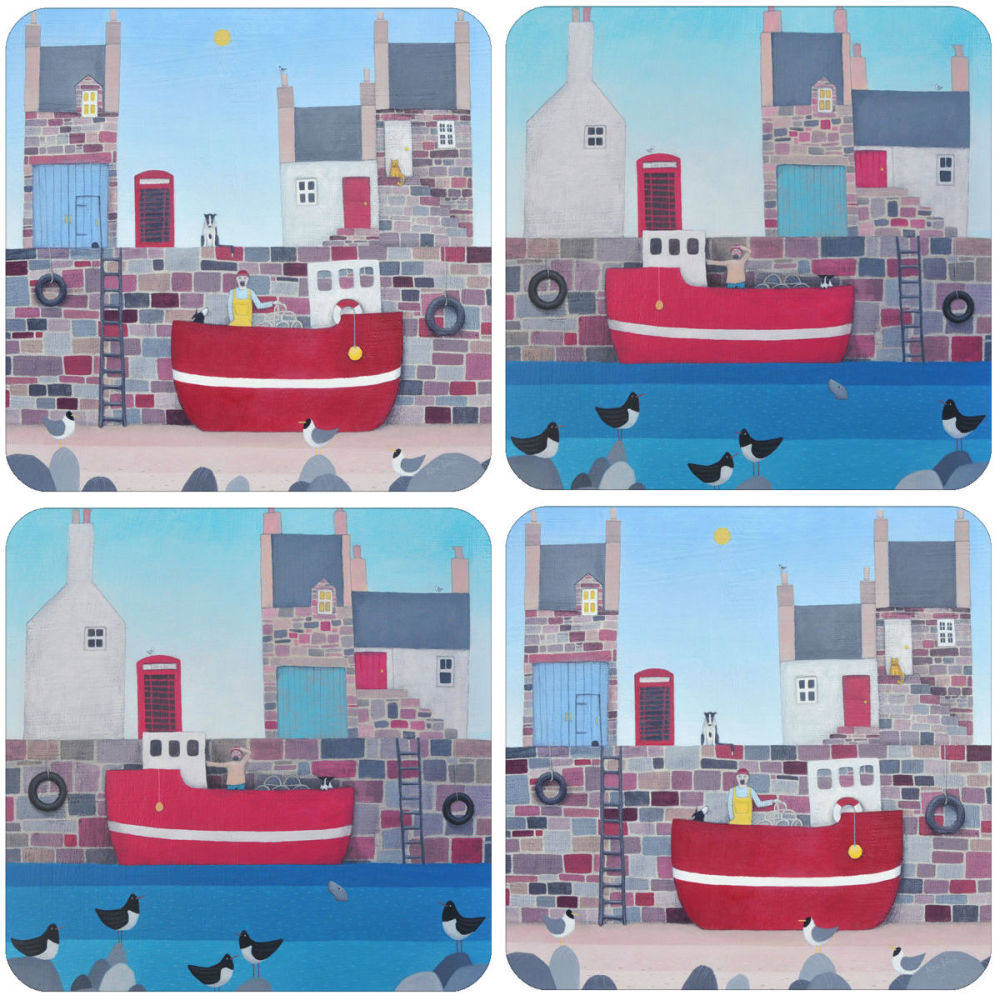 A Coastal Mixed Coasters Set of 4