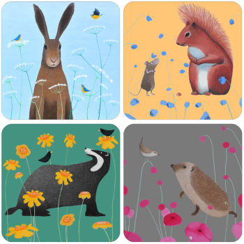 A Colourful Animals Set of 4 Mixed Coasters