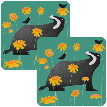 Badger Serenade on Green Set of 2 Coasters