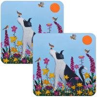 """Bestie to the Birdies"" Collie Dog Set of 2 Coasters"