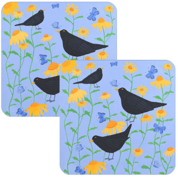 Blackbirds in Bloom Set of 2 Coasters