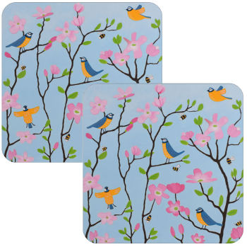 Blue Tits and Blossoms Set of 2 Blue Tit Coasters