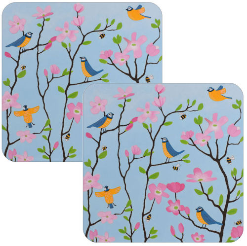 Blue Tits and Blossoms Coaster Set of 2